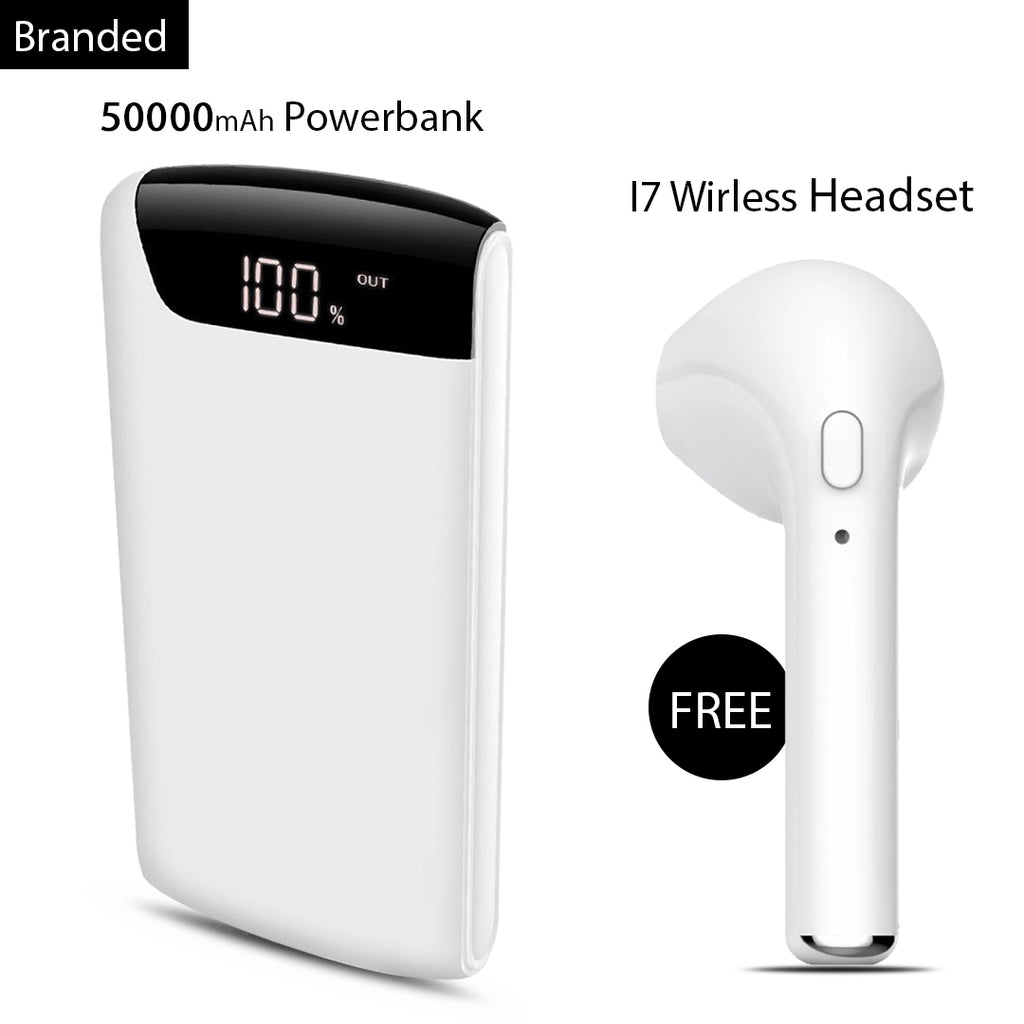 Buy Online Branded 50000mAh Power Bank And Get I7 Wireless Headset Free