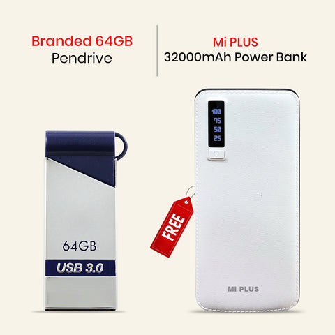 64 GB Pendrive With Mi Plus 32000mAh Power Bank With Free
