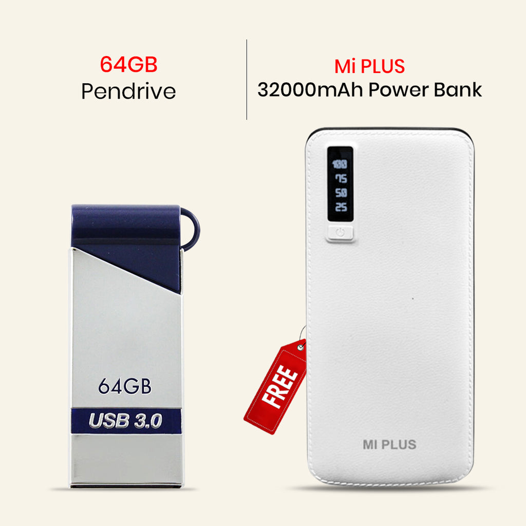 64 GB Pendrive With Mi Plus 32000mAh Power Bank