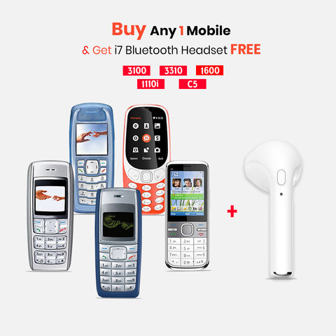 Any 1 Mobile Phone (1600 , C5-03 ,3100 ,3310 ,1110i ) WIth I7 Bluetooth Headset