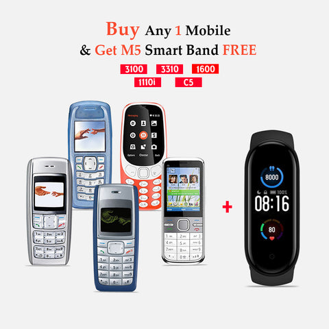 Any 1 Mobile Phone (1600 , C5-03 ,3100 ,3310 ,1110i ) WIth M5 Smart Band