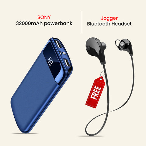 Buy 32000mAh Power Bank With Free  Clickcases Sports Wireless Bluetooth Headset