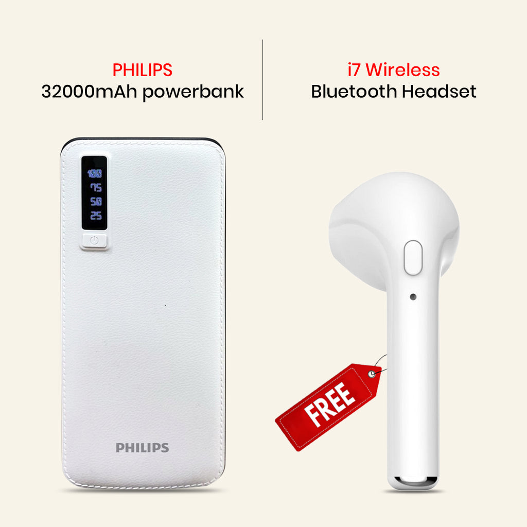 Buy 32000mAh Power Bank With I7 Wireless Bluetooth Headset