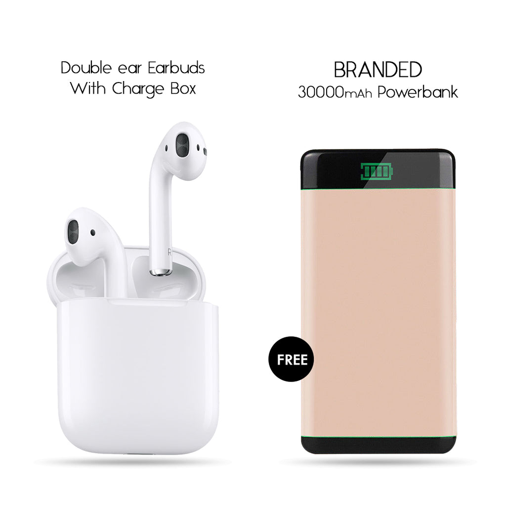 Double Earbud Headset With Free Branded 30000mAh Power Bank