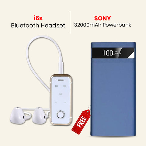 Buy Online i6s Bluetooth Headset With 32000mAh Power Bank Free