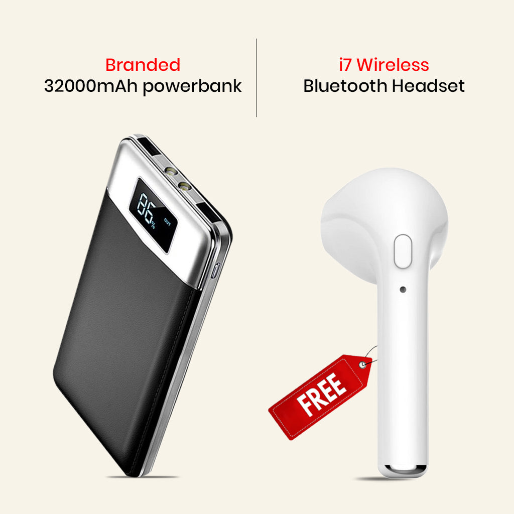 Branded 32000mAh Power Bank with I7 Wireless Headset Free