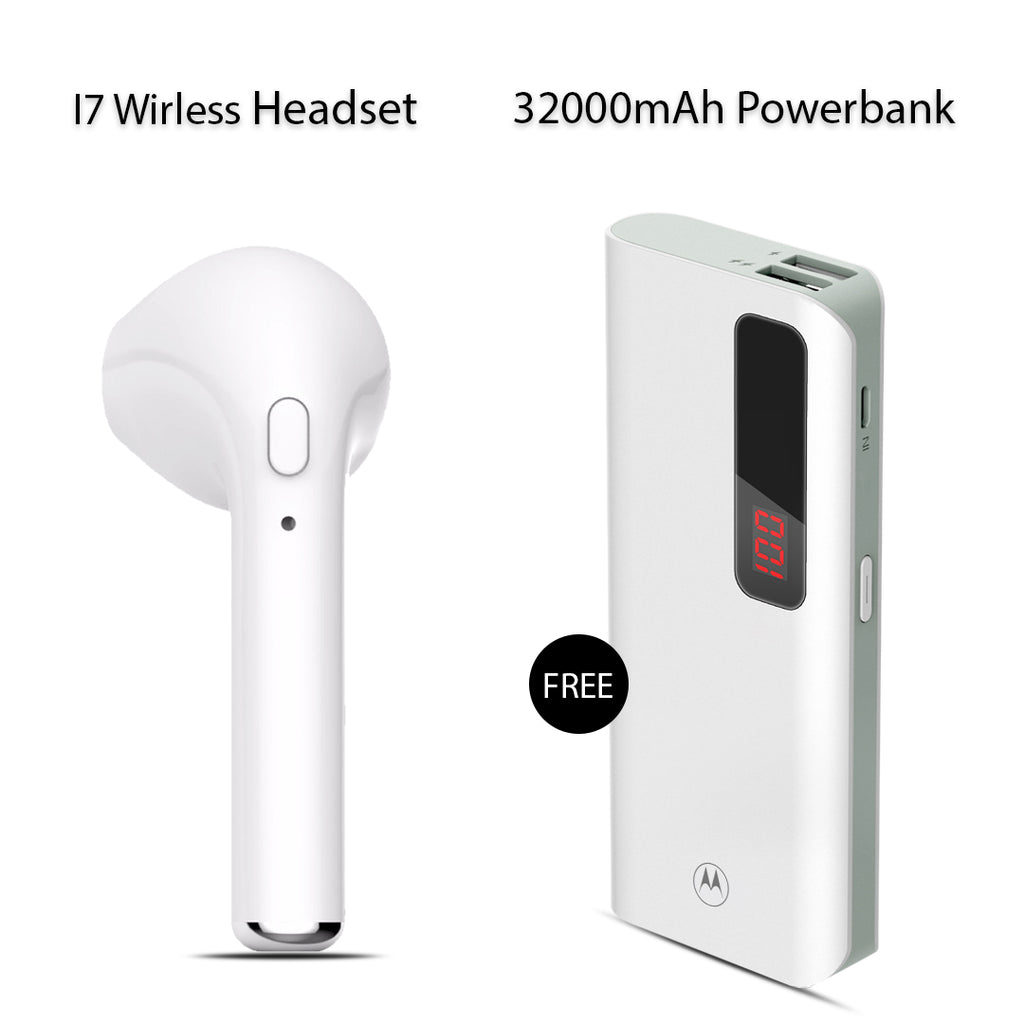 i7 wireless Earpod + Branded Power Bank