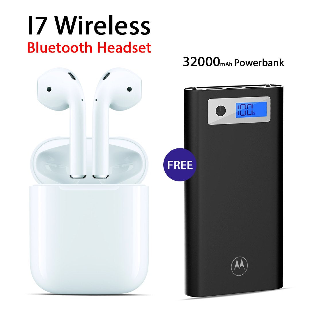 Buy I7 Wireless Bluetooth Headset with Free Motorola 32000mAh Power Bank