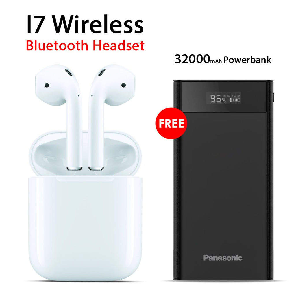 Buy I7 Wireless Bluetooth Headset with Free Panasonic 32000mAh Power Bank