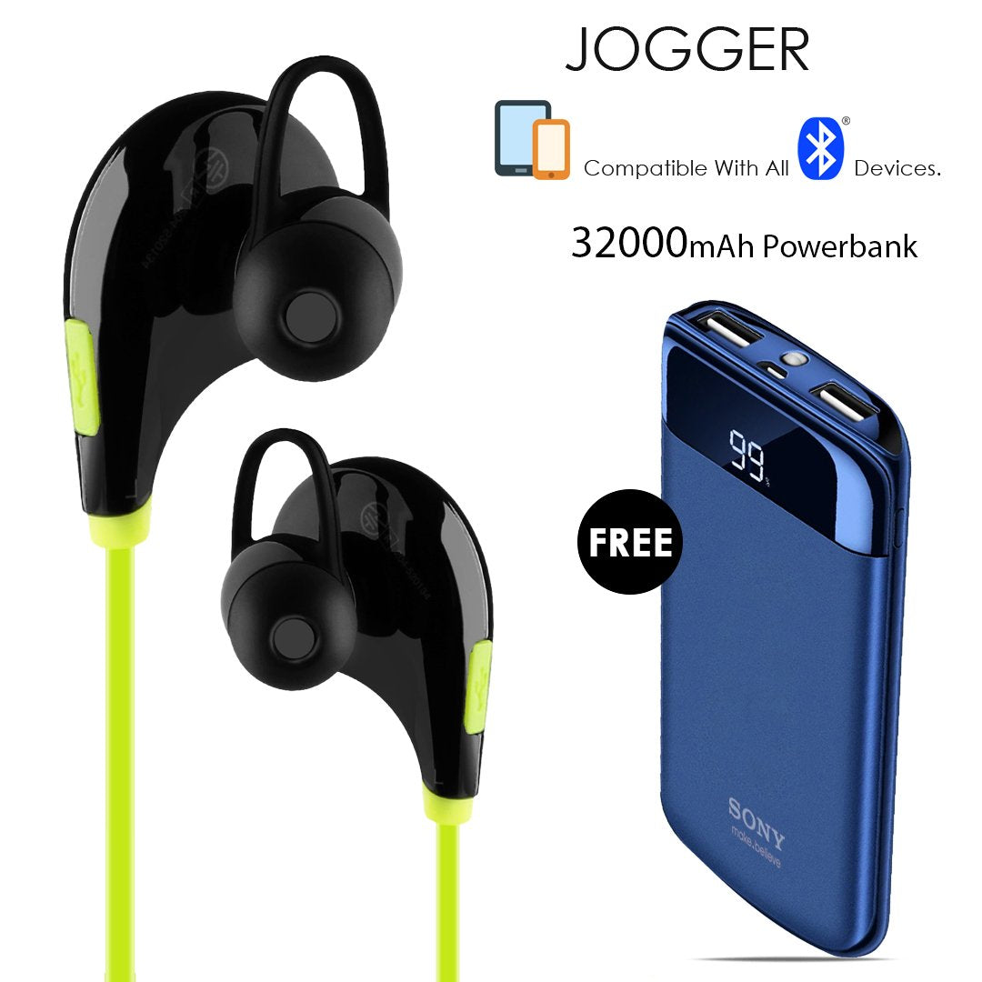 392295932 Buy Clickcases Sports JOGGER Wireless Bluetooth Headset With Free 32000mAh Power  Bank - REBOXED