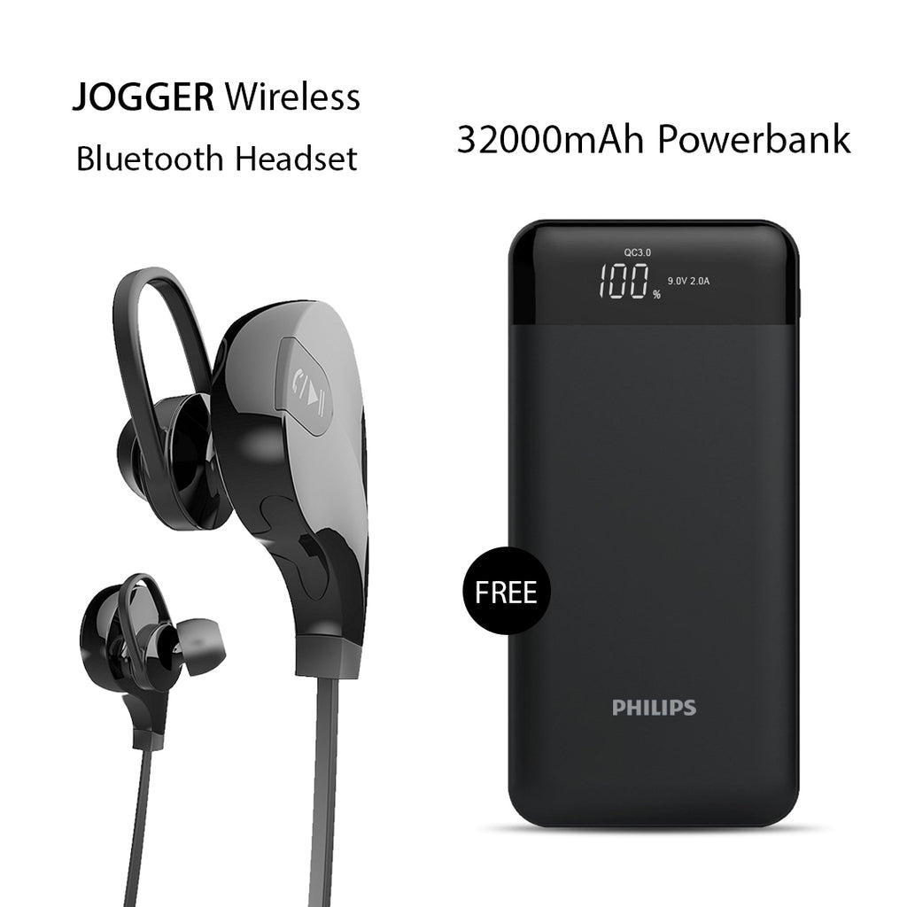 Buy Clickcases Sports JOGGER Wireless Bluetooth Headset With Free 32000mAh Philips Power Bank