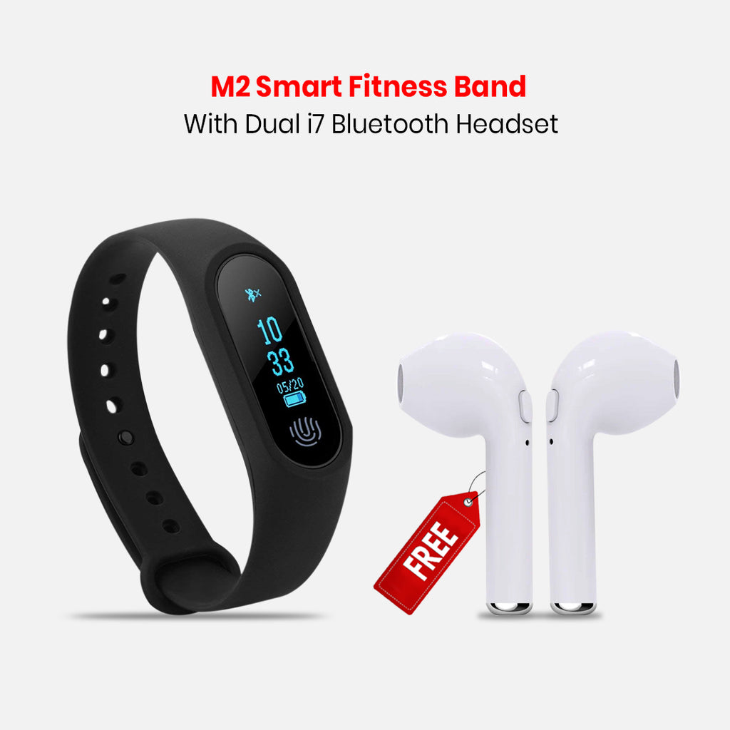 M2 Smart Fitness Band With Dual i7 Bluetooth Headset Free