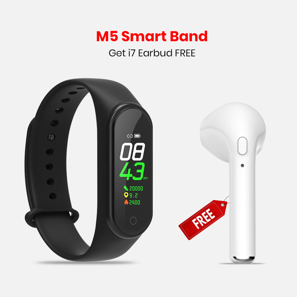 M5 Smart Band With Free I7 Bluetooth Headset