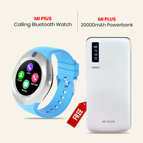 MI Plus Calling Bluetooth Watch + 20000mAH Power Bank