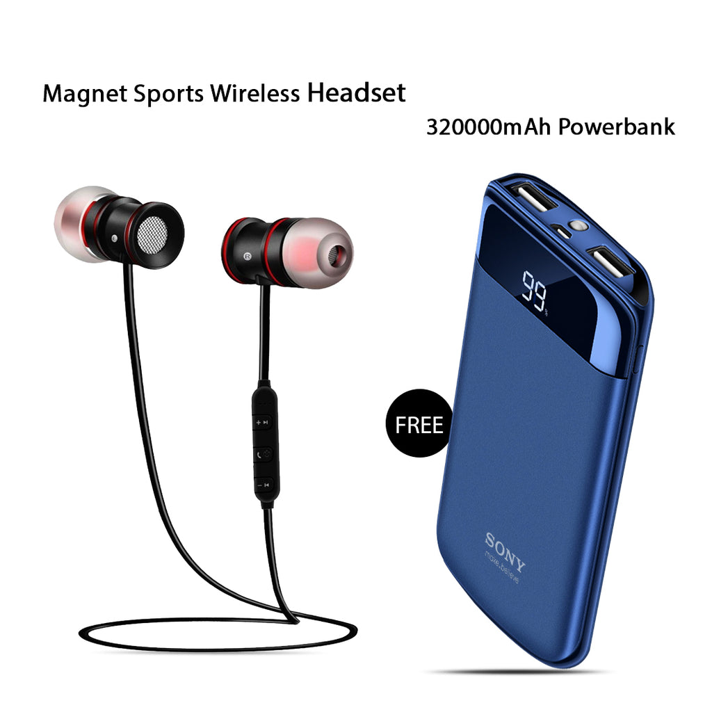 Clickcases Sports Wireless Bluetooth Headset With Free 32000mAh Power Bank