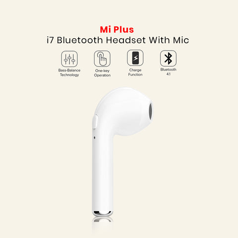 i7 Bluetooth Headset Black Bluetooth Headset with Mic