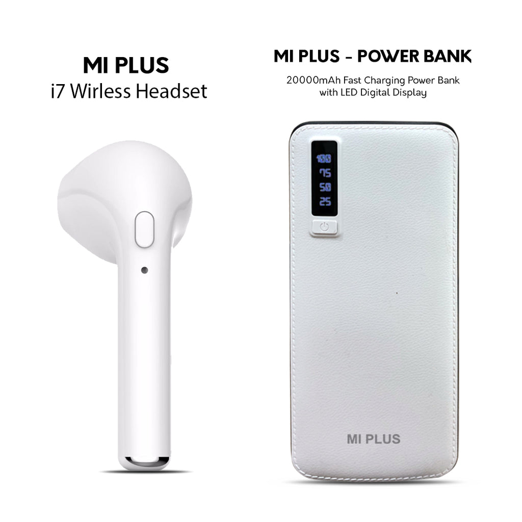 MI PLUS I 7 WIRELESS HEADSET+20000MAH POWERBANK