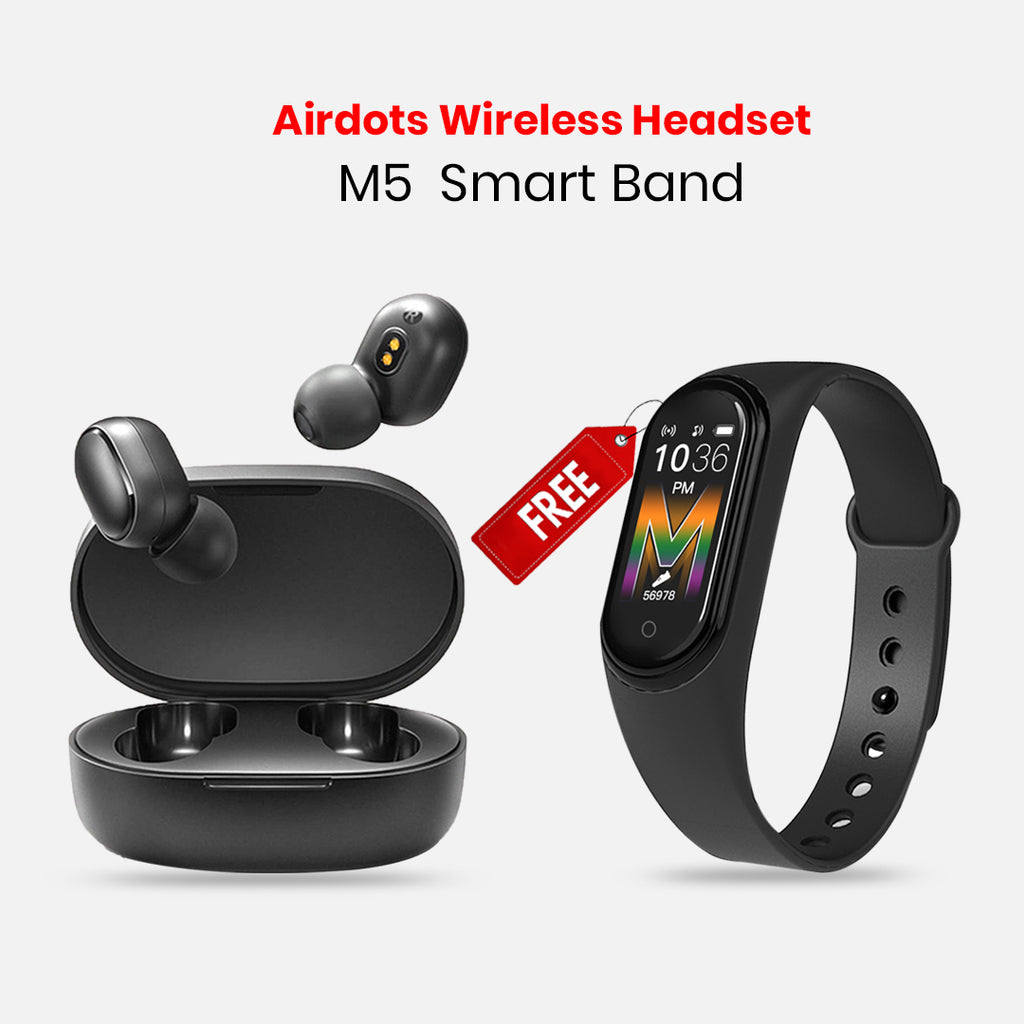 Xiaomi Redmi Mi Airdots Bluetooth 5.0 Earphone Stereo with free M5 Band