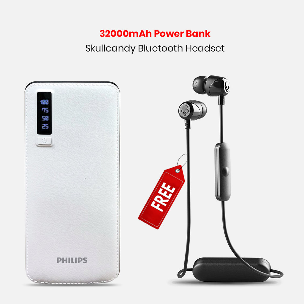 32000mAh Power Bank With Free Skullcandy Bluetooth Headset