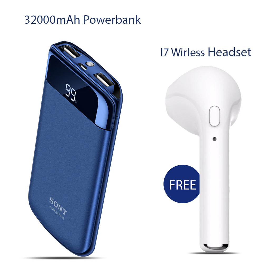 Sony 32000mAh Power Bank with Free I7 Wireless Headset