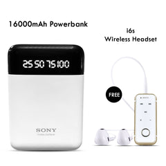Buy 16000mAH Sony Power Bank With I6S Bluetooth Headset