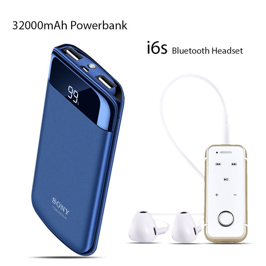 Buy Online 32000mAh Power Bank with i6s Bluetooth Headset Free