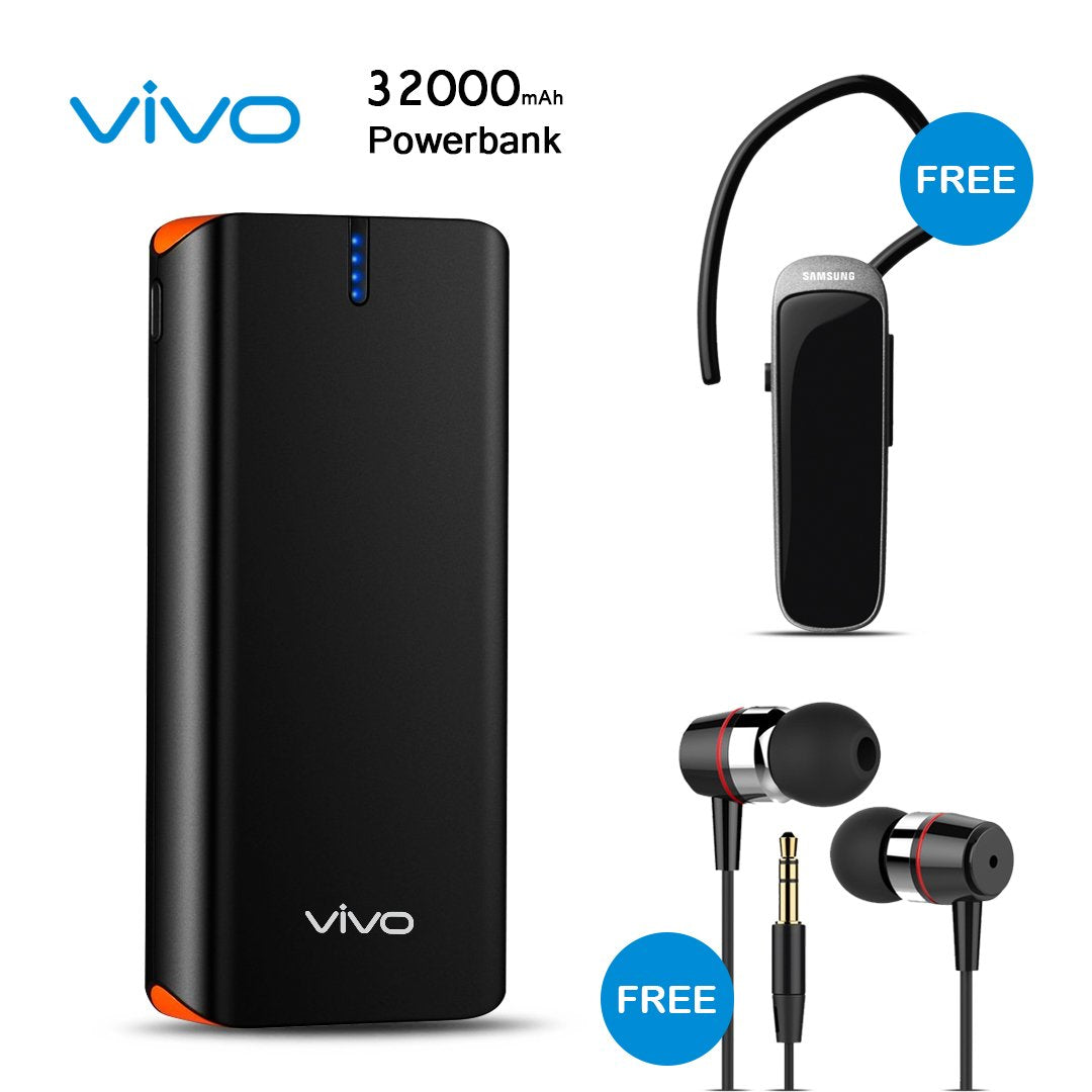 Buy Vivo 32000mAH Power Bank With Free Samsung Bluetooth and Earphone