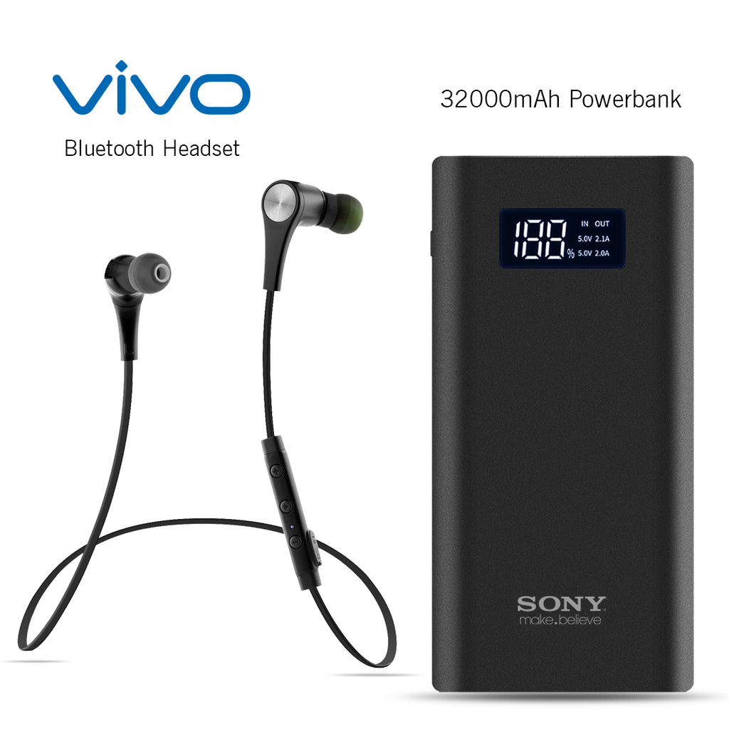 Vivo Bluetooth Headset With Free Sony 30000mAh Power Bank