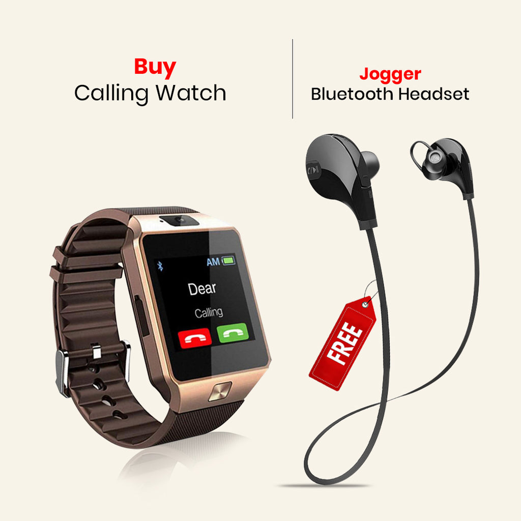 Calling Watch With Free Sports Wireless Bluetooth Headset