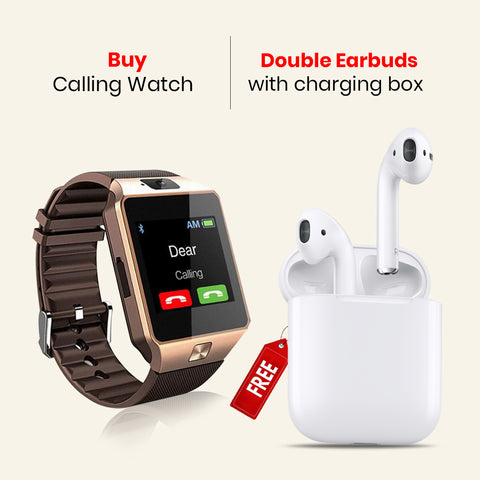 Smart Calling Watch With Free Double Earbud Headset