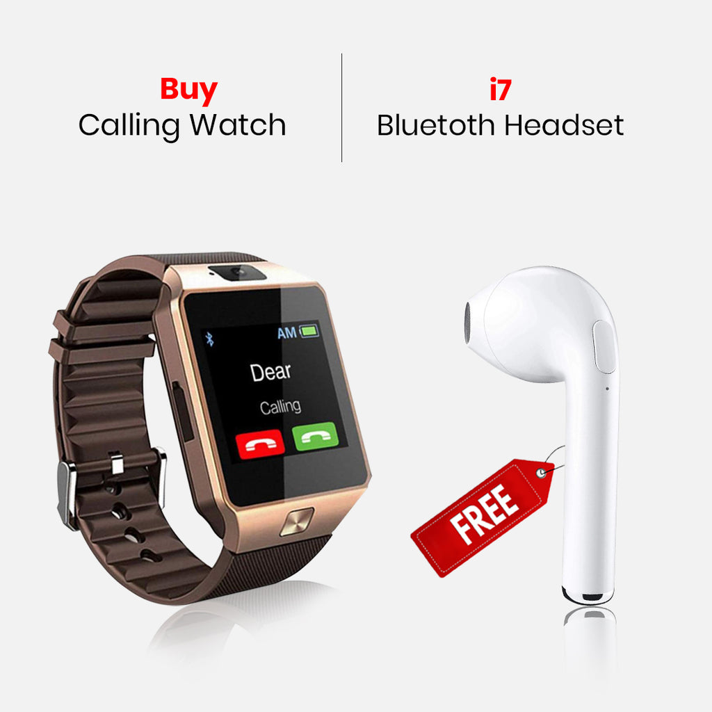 Calling Watch With Free I7 Bluetooth Headset