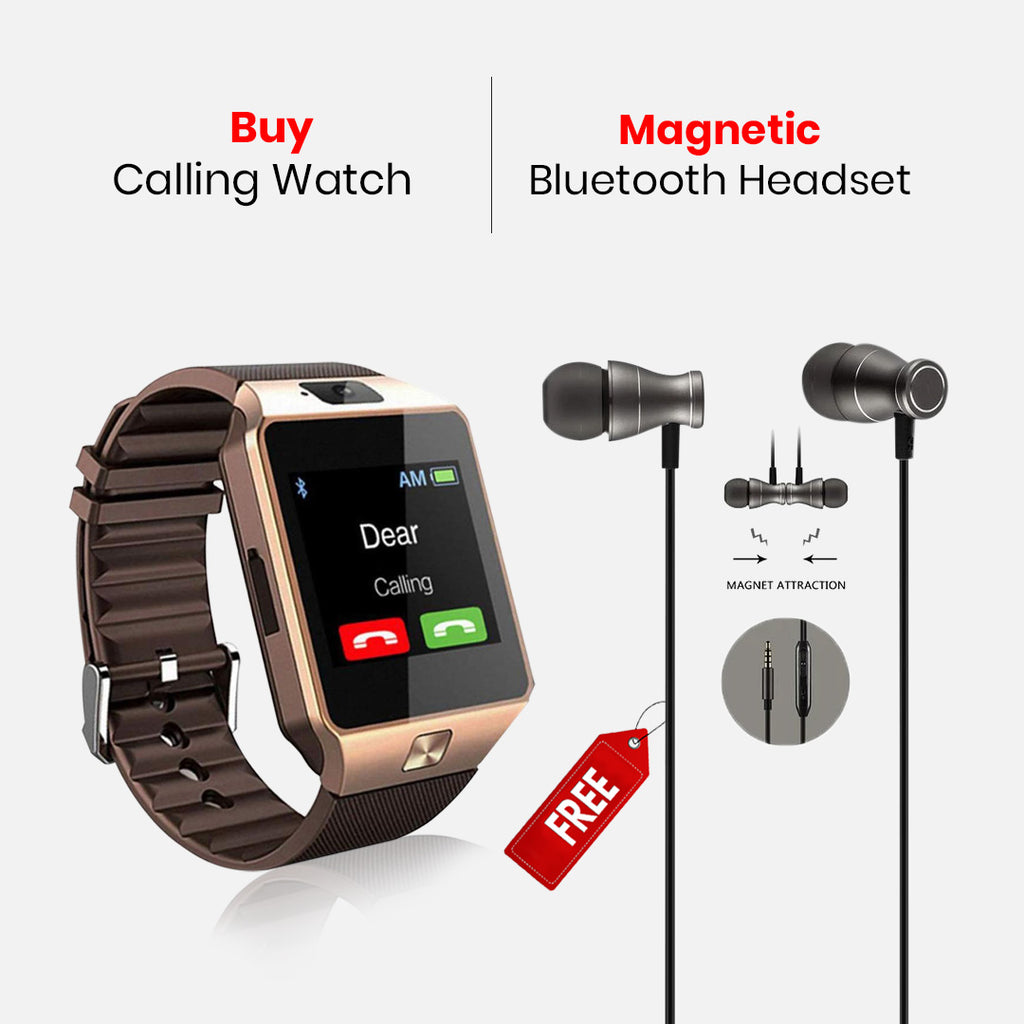 Calling Watch With Free Magnetic Sports Wireless Headset