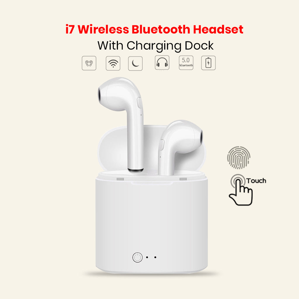 I7 Bluetooth Earphone With Charging Dock