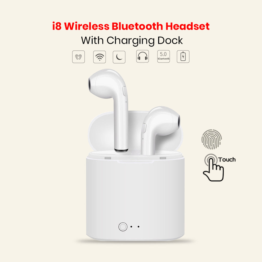 i8 Wireless Bluetooth Headset With Charging Dock
