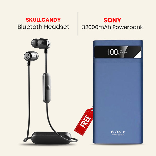 Skullcandy Bluetooth Headset With Free 32000mAh Power Bank