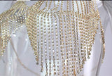 Sequin Rhinestone Bralette Chain in Gold