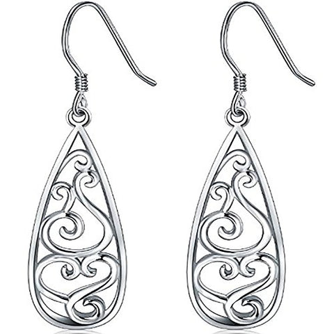 Teardrop Earrings Sterling Silver 925 Filigree