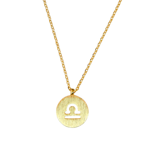 Libra Astrology Sign Necklace in Gold