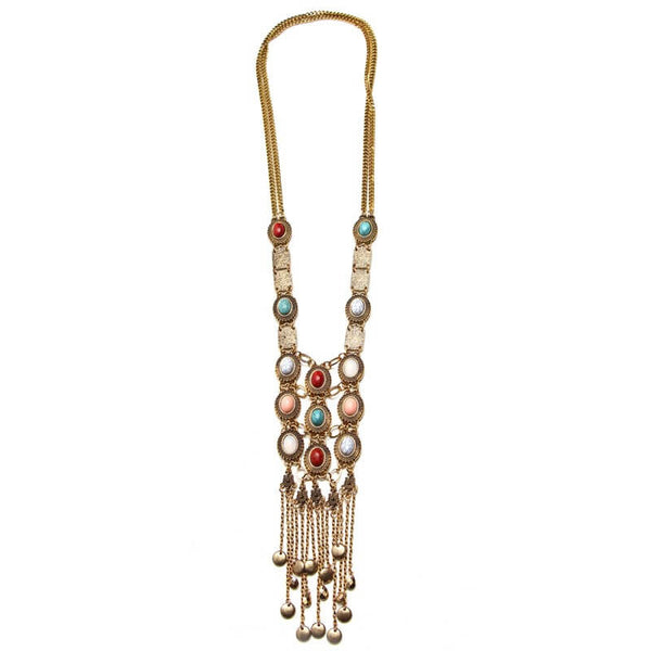 Long Boho Crystal Inlaid Tassel Necklace in Gold
