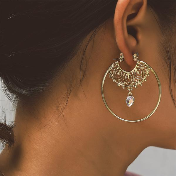 Gold Hoop Crystal Dangle Earrings