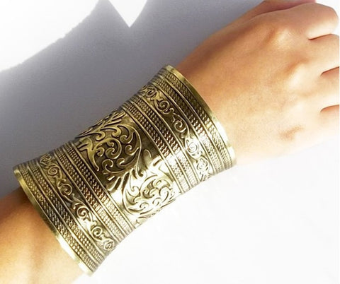 Long Gypsy Metal Cuff With Etchings Silver Tone