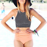 Striped Peach High Waist Swimwear