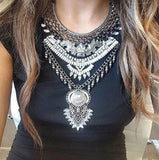 Ethnic Silver Bib Necklace