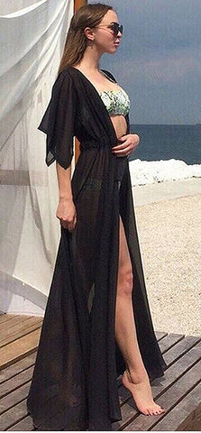 Solid Long Bikini Cover up Tunic in Black