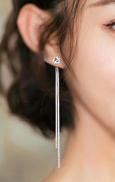 Silver Dangle Gem Drop Earrings