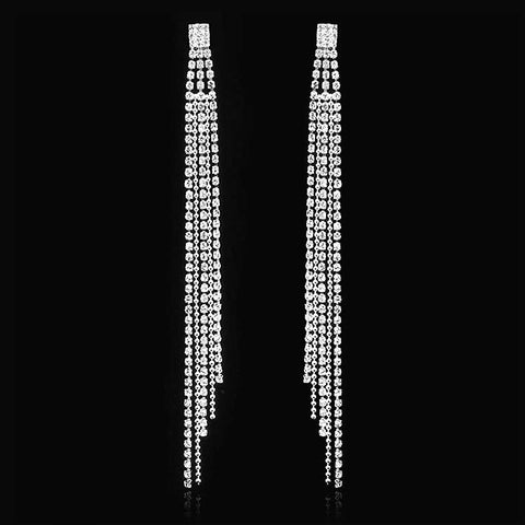 Long Crystal Tassel Bridal Earrings