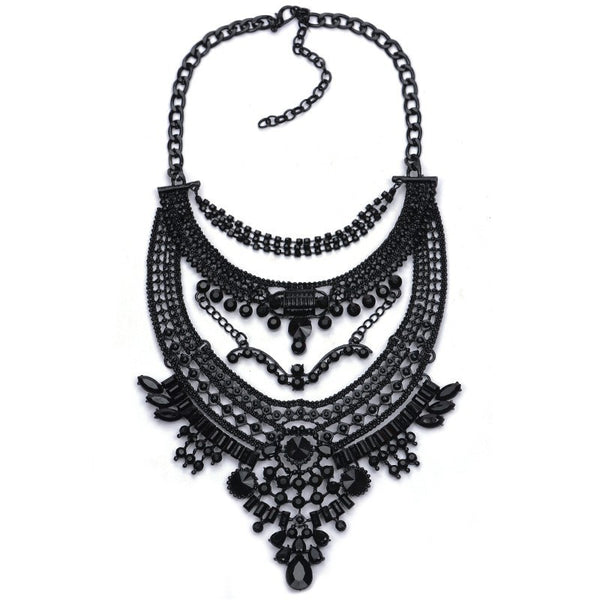 Vintage Fashion Statement Necklace in Black