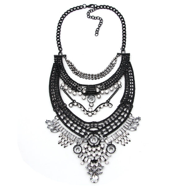 Vintage Fashion Statement Necklace in Black and Silver
