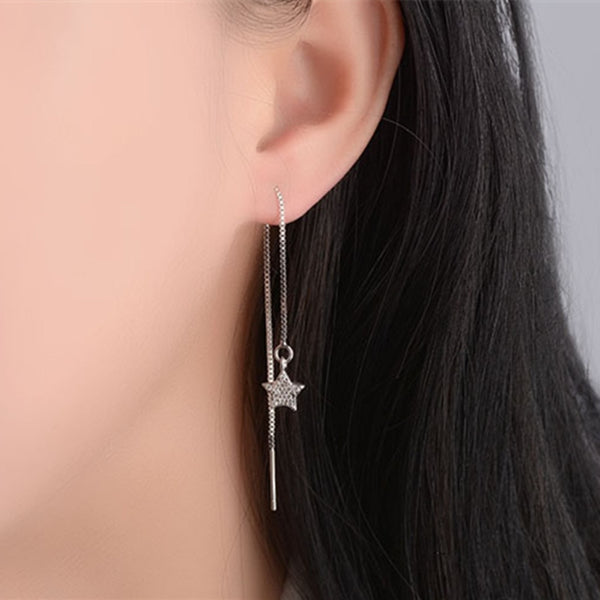 Moon Star Asymmetric Drop Earrings