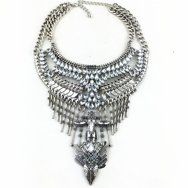 Bold Boho Statement Necklace In Silver 3001